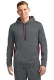 Sport-wick Fleece Colorblock Hooded Pullover Dark Smoke Grey with Maroon Thumbnail