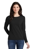 Women's Heavy Cotton 100 Cotton Long Sleeve TShirt Black Thumbnail
