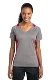 Women's Heather Colorblock Contender V-neck Tee Vintage Heather with True Red Thumbnail