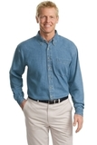Tall Long Sleeve Denim Shirt Faded Blue Thumbnail