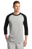 Colorblock Raglan Jersey Heather Grey with Black Thumbnail