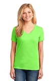 Women's 5.4-oz 100 Cotton V-neck T-shirt Neon Green Thumbnail