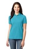 Women's Pique Knit Polo Shirt Turquoise Thumbnail