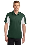 Side Blocked Performance Micropique Polo Shirt Forest Green with White Thumbnail