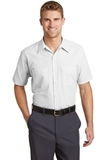 Short Sleeve Striped Industrial Work Shirt Grey with White Thumbnail