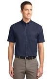 Short Sleeve Easy Care Shirt Navy with Light Stone Thumbnail