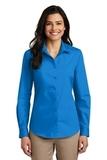 Women's Long Sleeve Carefree Poplin Shirt Coastal Blue Thumbnail