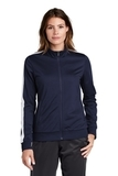 Ladies Tricot Track Jacket True Navy with White Thumbnail