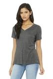 BELLA+CANVAS Women's Relaxed Jersey Short Sleeve V-Neck Tee Grey Triblend Thumbnail