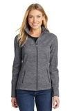 Women's Digi Stripe Fleece Jacket Black Thumbnail