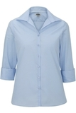 3/4 Sleeve Stretch Broadcloth Blouse Blue Thumbnail