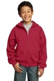 Youth Full-zip Hooded Sweatshirt Red Thumbnail