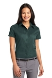Women's Short Sleeve Easy Care Shirt Dark Green with Navy Thumbnail