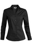 V-neck Tailored Stretch Dress Shirt Black Thumbnail