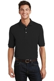 Pique Knit Polo Shirt With Pocket Black Thumbnail