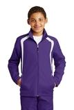 Youth Colorblock Raglan Jacket Purple with White Thumbnail