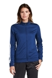 Ladies Tricot Track Jacket True Royal with White Thumbnail