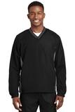 Tipped V-neck Raglan Wind Shirt Black with Graphite Grey Thumbnail