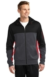 Tech Fleece Colorblock Full-zip Hooded Jacket Black with Graphite Heather and True Red Thumbnail