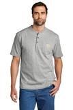 Short Sleeve Henley T-Shirt Heather Grey Thumbnail