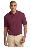 Tall Pique Knit Polo Shirt Burgundy Thumbnail