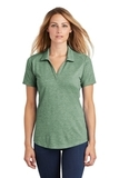 Women's Tri-Blend Wicking Polo Forest Green Heather Thumbnail