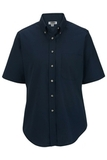 Women's Button Down Poplin Shirt SS Navy Thumbnail