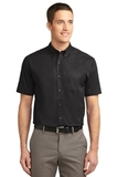 Tall Short Sleeve Easy Care Shirt Black with Light Stone Thumbnail