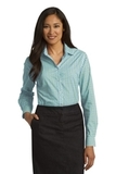 Women's Long Sleeve Gingham Easy Care Shirt Green with Aqua Thumbnail