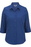 Women's 3/4 Sleeve Poplin Shirt Royal Thumbnail