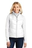 Women's Puffy Vest White with Dark Slate Thumbnail
