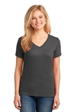 Women's 5.4-oz 100 Cotton V-neck T-shirt Charcoal Thumbnail