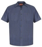 Long Size Short Sleeve Striped Industrial Work Shirt Grey with Blue Thumbnail