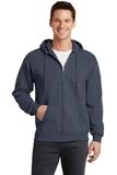7.8-oz Full-zip Hooded Sweatshirt Heather Navy Thumbnail