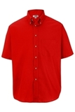 Men's Button Down Poplin Shirt SS Red Thumbnail