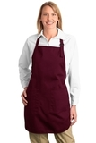 Full Length Apron With Pockets Maroon Thumbnail