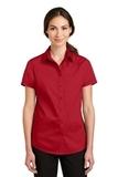 Women's Short Sleeve SuperPro Twill Shirt Rich Red Thumbnail
