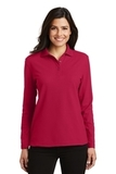 Women's Silk Touch Long Sleeve Polo Shirt Red Thumbnail