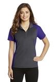 Women's Colorblock Micropique Sport-Wick Polo Iron Grey with Purple Thumbnail