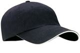 Sandwich Bill Cap With Striped Closure Classic Navy with White Thumbnail