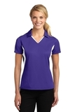 Women's Side Blocked Micropique Polo Shirt Purple with White Thumbnail