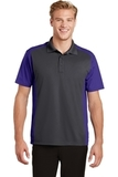 Colorblock Micropique Sport-Wick Polo Iron Grey with Purple Thumbnail