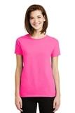 Women's Ultra Cotton 100 Cotton T-shirt Safety Pink Thumbnail