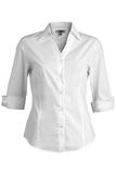 V-neck 3/4 Sleeve Tailored Blouse White Thumbnail