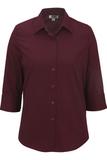Women's 3/4 Sleeve Poplin Shirt Wine Thumbnail