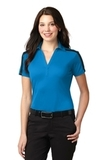 Women's Port Authority Silk Touch Performance Colorblock Stripe Polo Brilliant Blue with Black Thumbnail