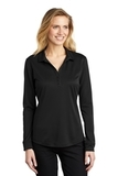 Women's Silk Touch Performance Long Sleeve Polo Black Thumbnail