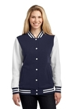 Women's Fleece Letterman Jacket True Navy with White Thumbnail