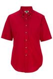 Women's Button Down Poplin Shirt SS Red Thumbnail