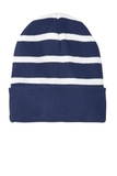 Striped Beanie with Solid Band True Navy with White Thumbnail